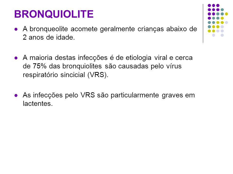 BRONQUIOLITE A bronqueolite acomete geralmente crianças abaixo de 2 anos de idade. A maioria destas infecções é de etiologia viral e cerca de 75% das
