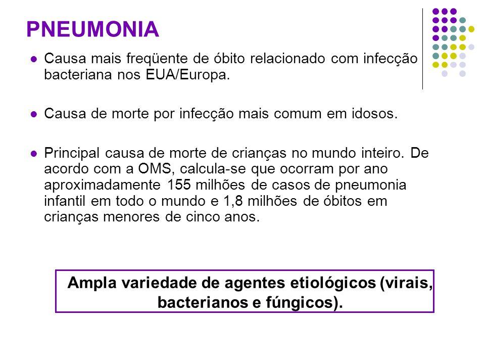 PNEUMONIA Causa mais freqüente de óbito relacionado com infecção bacteriana nos EUA/Europa. Causa de morte por infecção mais comum em idosos. Principa