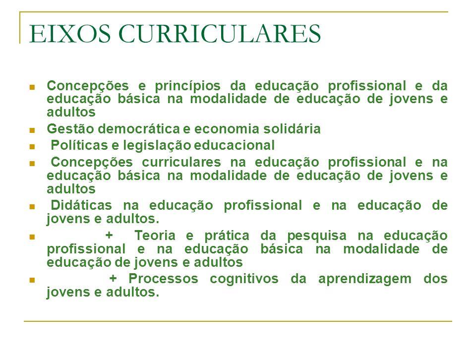 EIXOS CURRICULARES Concepções e princípios da educação profissional e da educação básica na modalidade de educação de jovens e adultos Gestão democrát