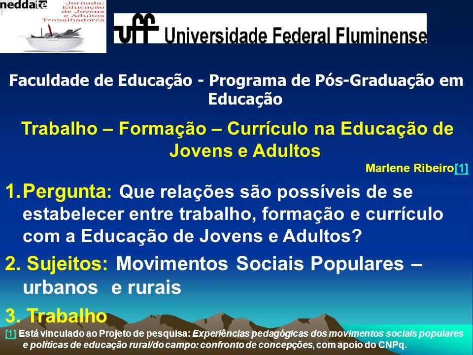 Faculdade de Educação - Programa de Pós-Graduação em Educação Trabalho – Formação – Currículo na Educação de Jovens e Adultos Marlene Ribeiro[1][1] 1.