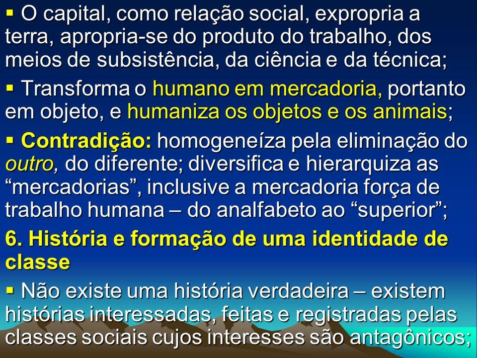 O capital, como relação social, expropria a terra, apropria-se do produto do trabalho, dos meios de subsistência, da ciência e da técnica; O capital,
