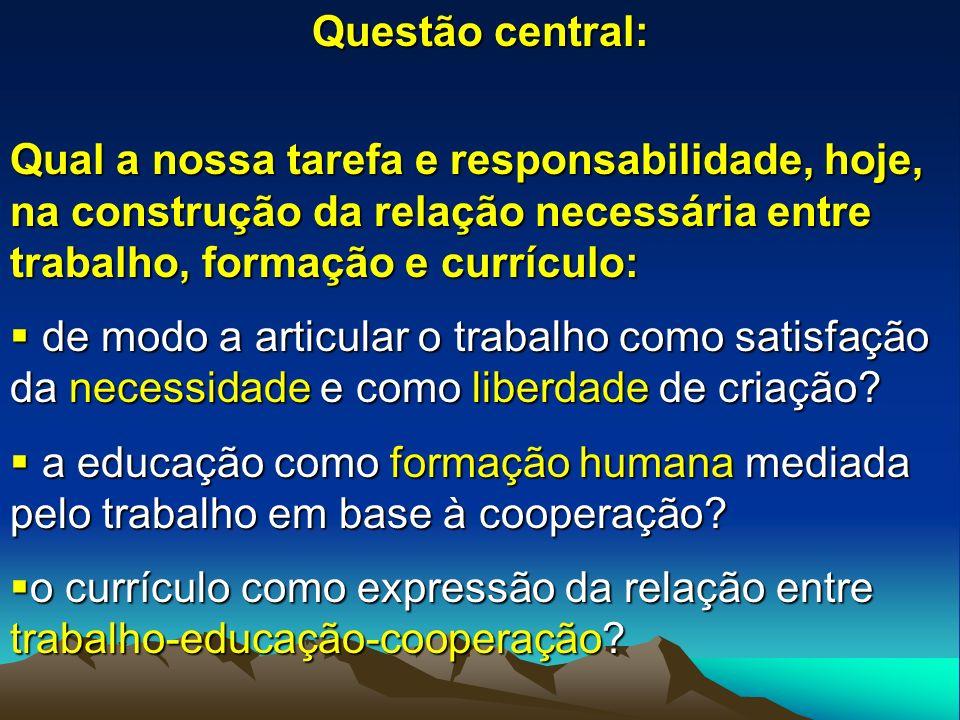 Questão central: Qual a nossa tarefa e responsabilidade, hoje, na construção da relação necessária entre trabalho, formação e currículo: de modo a art