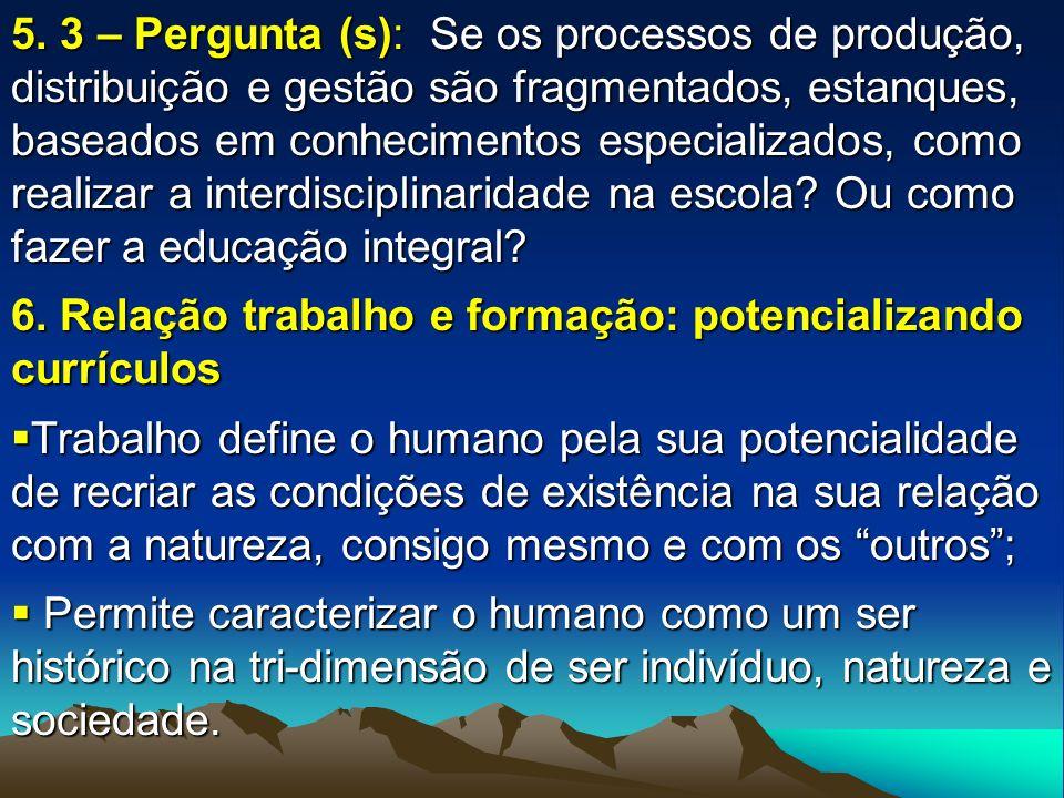 5. 3 – Pergunta (s): Se os processos de produção, distribuição e gestão são fragmentados, estanques, baseados em conhecimentos especializados, como re