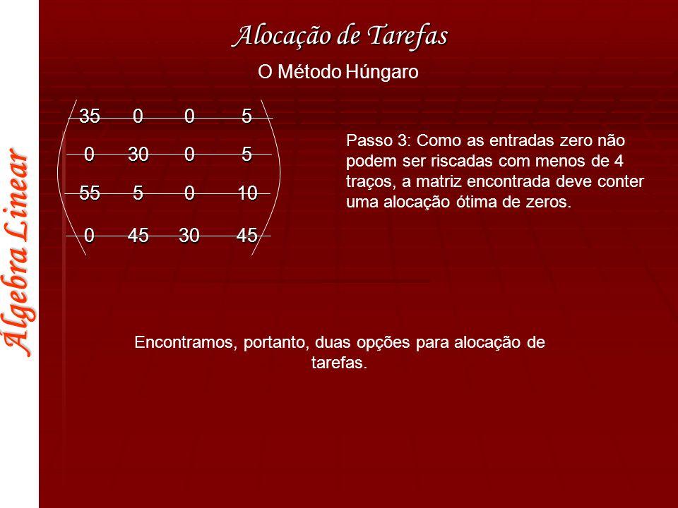 Álgebra Linear Alocação de Tarefas O Método Húngaro Passo 3: Como as entradas zero não podem ser riscadas com menos de 4 traços, a matriz encontrada d