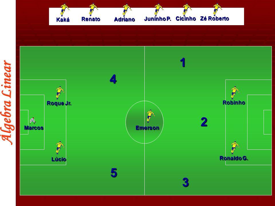 Álgebra Linear Roque Jr. Lúcio Marcos Ronaldo G. Robinho 3 2 1 4 5 Kaká Renato Adriano Juninho P. Cicinho Zé Roberto Emerson