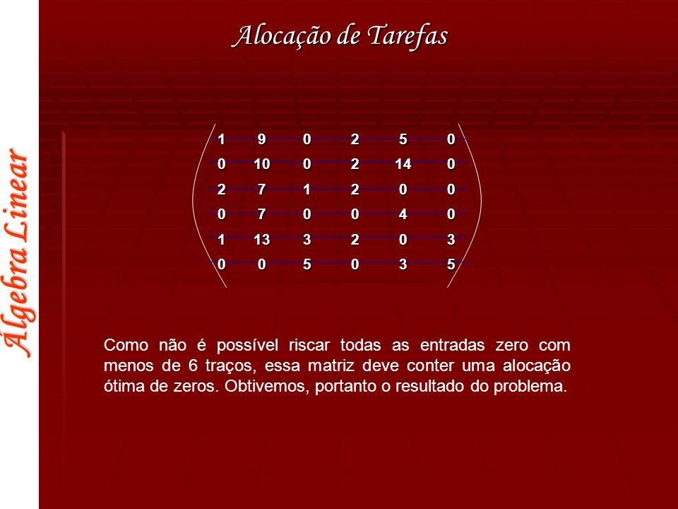 Álgebra Linear Alocação de Tarefas 190250 01002140 271200 070040 1133203 005035 Como não é possível riscar todas as entradas zero com menos de 6 traço