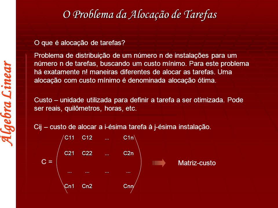 Álgebra Linear Alocação de Tarefas O Problema de Alocação de Tarefas de Carlos Alberto Parreira Kaká Renato Adriano Juninho P.