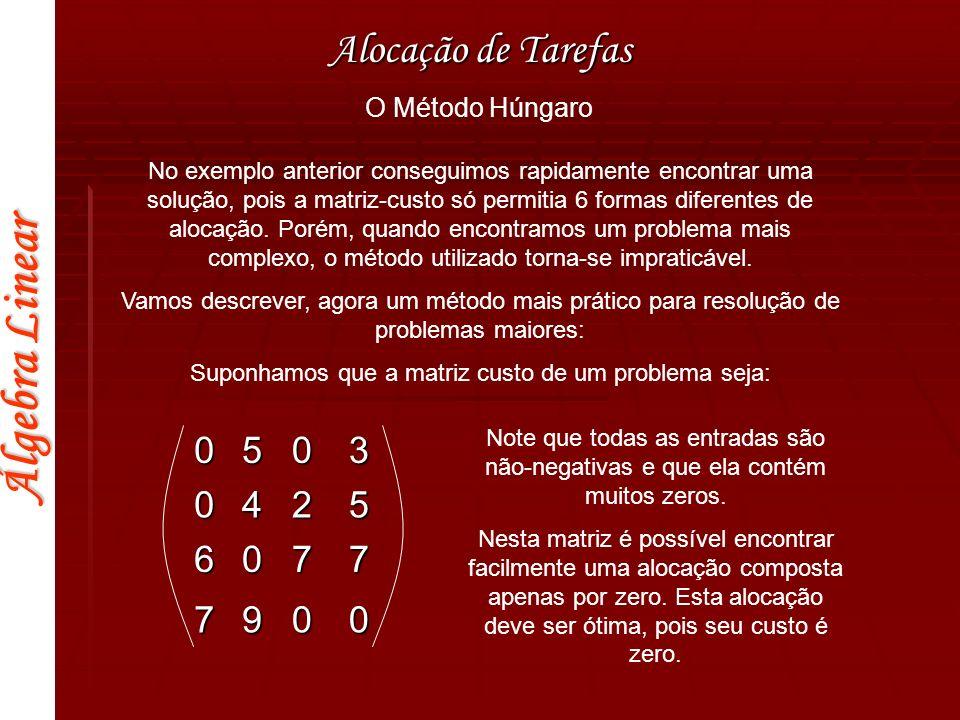 Álgebra Linear Alocação de Tarefas 6140770 51507160 7121720 5120560 4161501 000000 -15-7-21-14-14-21-18-8-23-16-7-23 -14-9-20-14-19-21 -14-7-19-14-13-19 -17-5-20-16-21-20 000000 Nessa matriz, subtrai-se a menor entrada de cada linha.