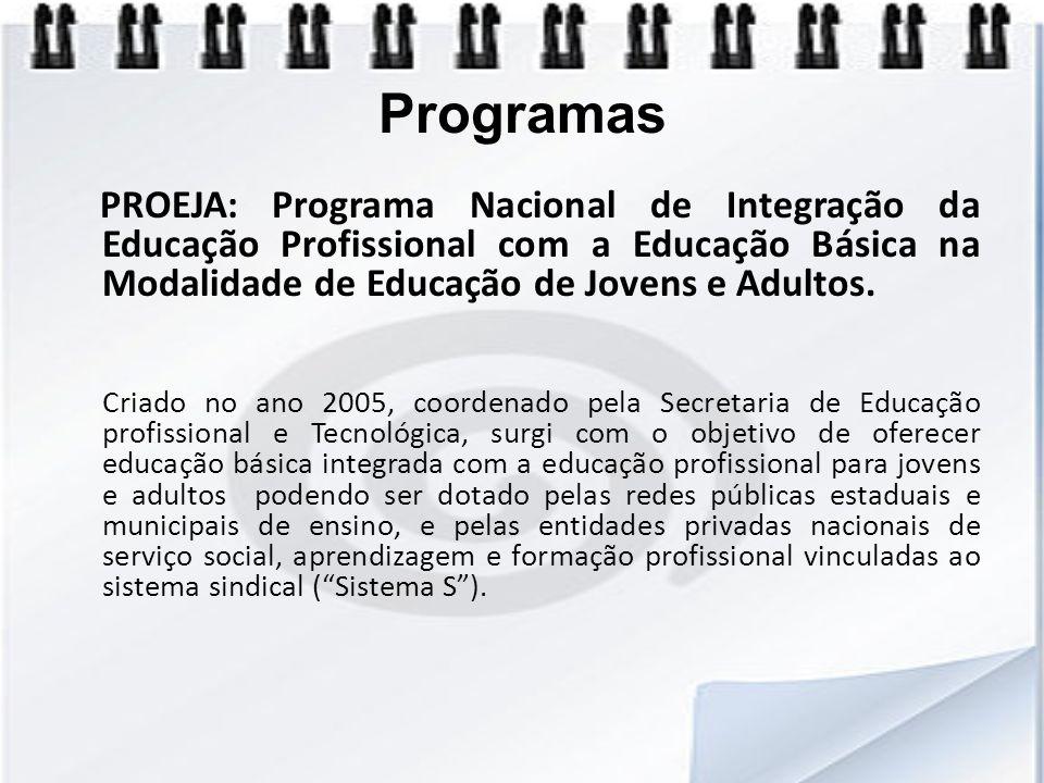 Programas PROEJA: Programa Nacional de Integração da Educação Profissional com a Educação Básica na Modalidade de Educação de Jovens e Adultos. Criado