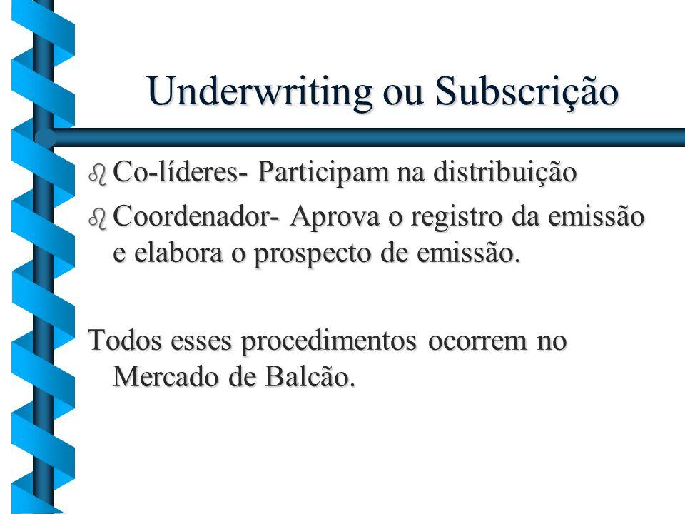 Underwriting ou Subscrição b Co-líderes- Participam na distribuição b Coordenador- Aprova o registro da emissão e elabora o prospecto de emissão. Todo