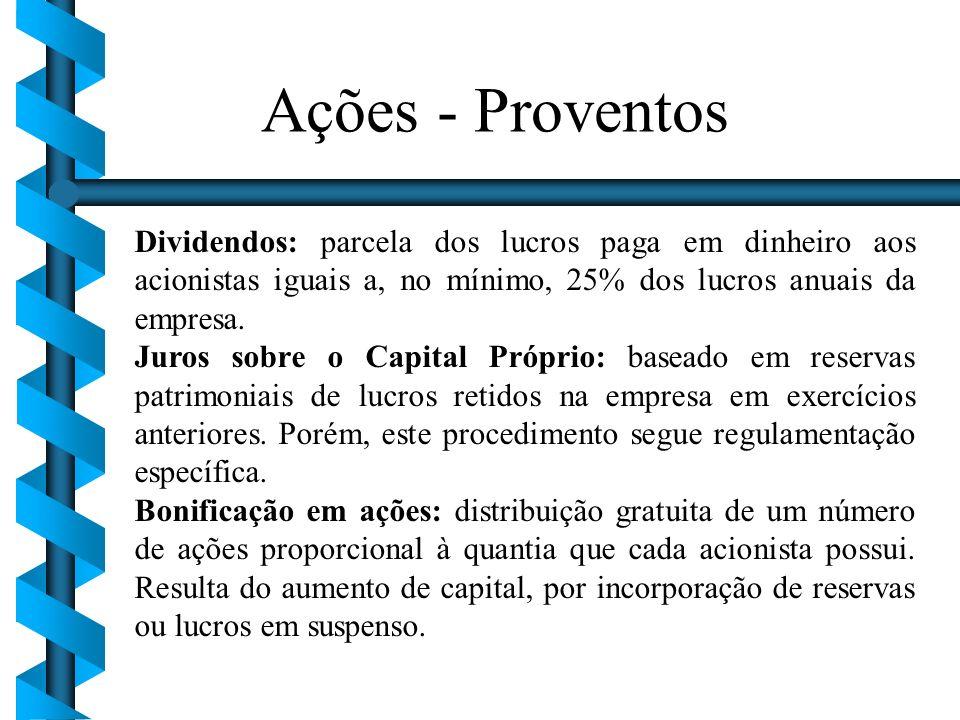 Dividendos: parcela dos lucros paga em dinheiro aos acionistas iguais a, no mínimo, 25% dos lucros anuais da empresa. Juros sobre o Capital Próprio: b