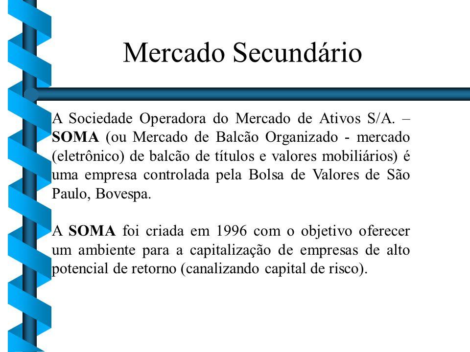 A Sociedade Operadora do Mercado de Ativos S/A. – SOMA (ou Mercado de Balcão Organizado - mercado (eletrônico) de balcão de títulos e valores mobiliár
