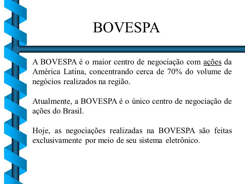 A BOVESPA é o maior centro de negociação com ações da América Latina, concentrando cerca de 70% do volume de negócios realizados na região. Atualmente