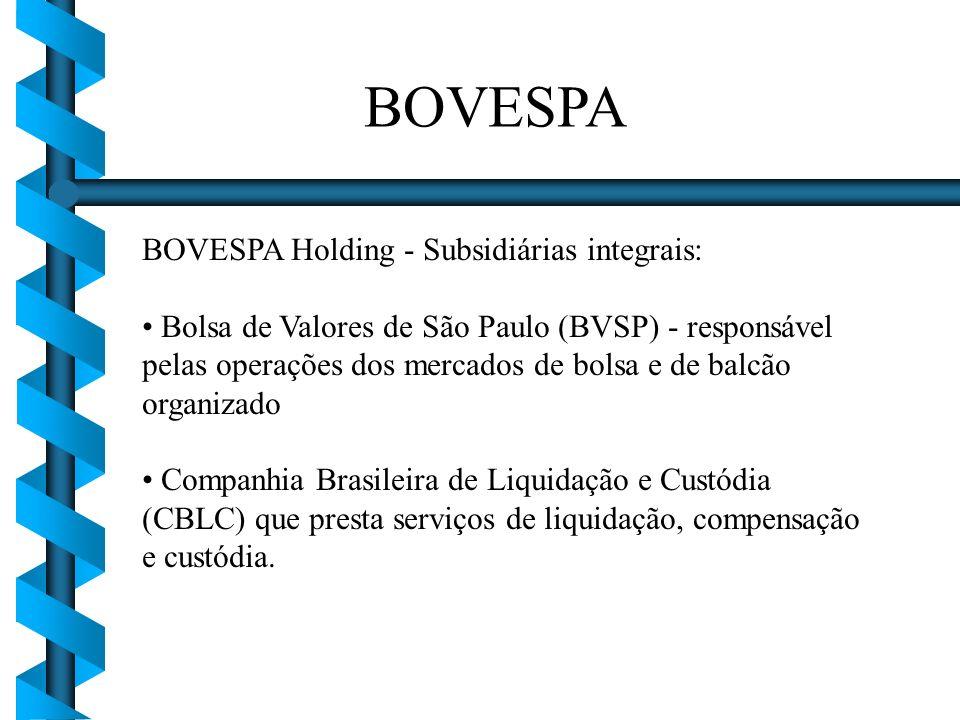 BOVESPA Holding - Subsidiárias integrais: Bolsa de Valores de São Paulo (BVSP) - responsável pelas operações dos mercados de bolsa e de balcão organiz
