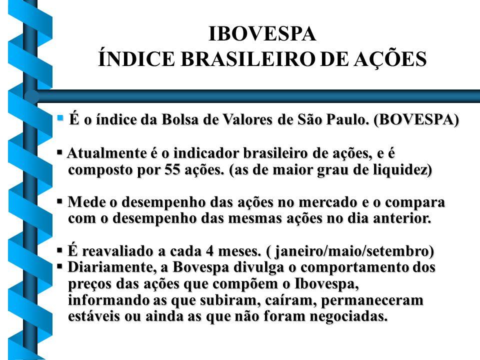 IBOVESPA ÍNDICE BRASILEIRO DE AÇÕES É o índice da Bolsa de Valores de São Paulo. (BOVESPA) É o índice da Bolsa de Valores de São Paulo. (BOVESPA) Atua