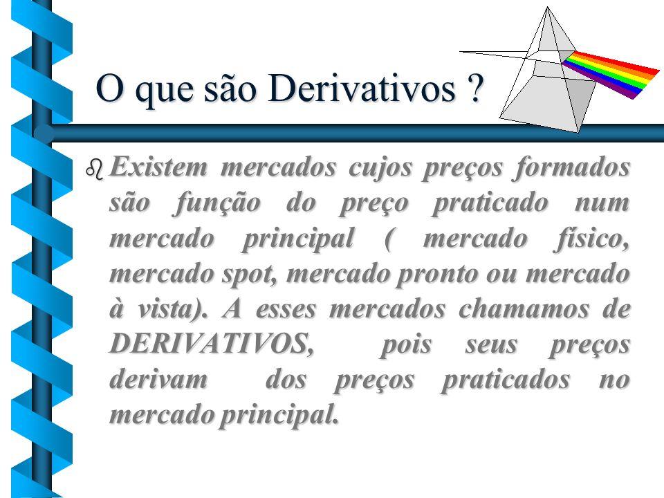 O que são Derivativos ? Existem mercados cujos preços formados são função do preço praticado num mercado principal ( mercado físico, mercado spot, mer
