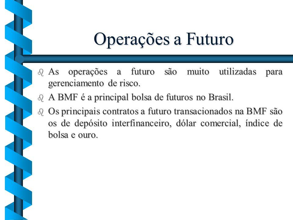 Operações a Futuro b As operações a futuro são muito utilizadas para gerenciamento de risco. b A BMF é a principal bolsa de futuros no Brasil. b Os pr