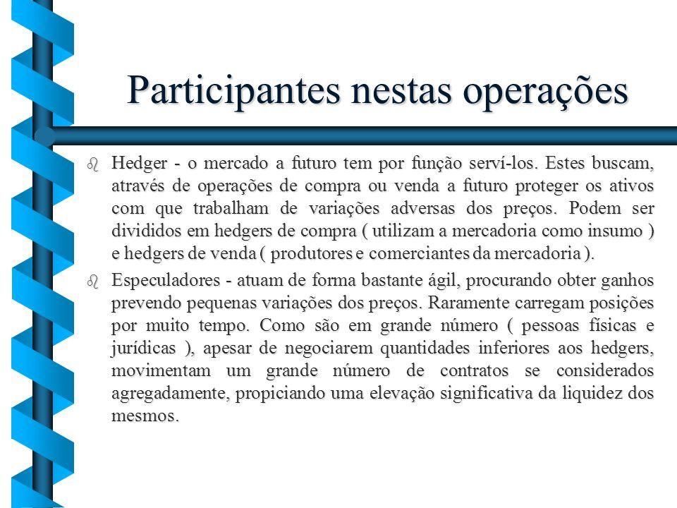 Participantes nestas operações b Hedger - o mercado a futuro tem por função serví-los. Estes buscam, através de operações de compra ou venda a futuro