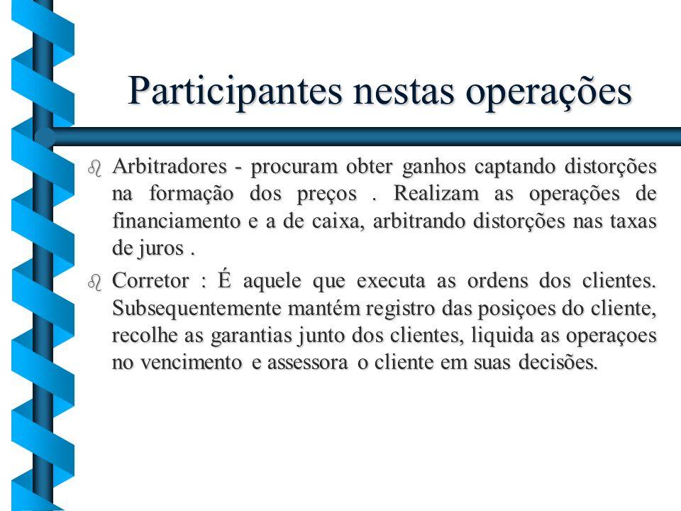 Participantes nestas operações b Arbitradores - procuram obter ganhos captando distorções na formação dos preços. Realizam as operações de financiamen