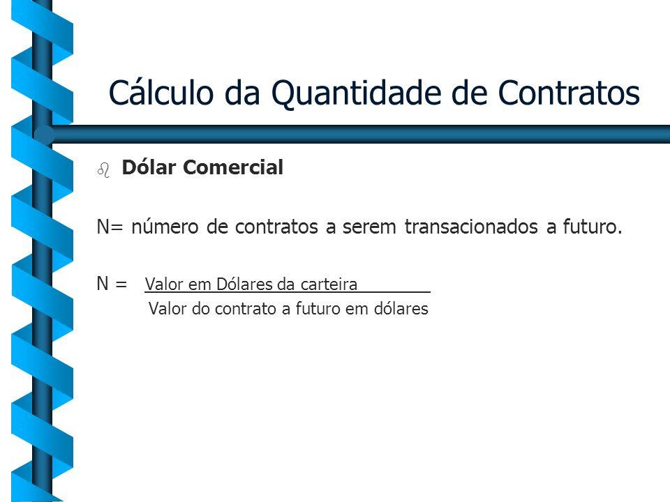 Cálculo da Quantidade de Contratos b b Dólar Comercial N= número de contratos a serem transacionados a futuro. N = Valor em Dólares da carteira_______