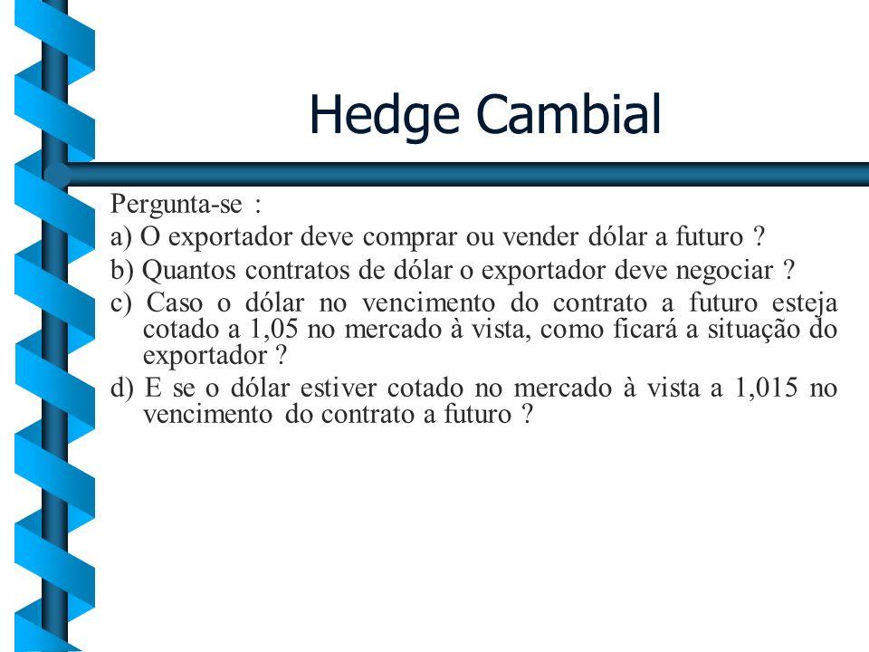 Hedge Cambial Pergunta-se : a) O exportador deve comprar ou vender dólar a futuro ? b) Quantos contratos de dólar o exportador deve negociar ? c) Caso