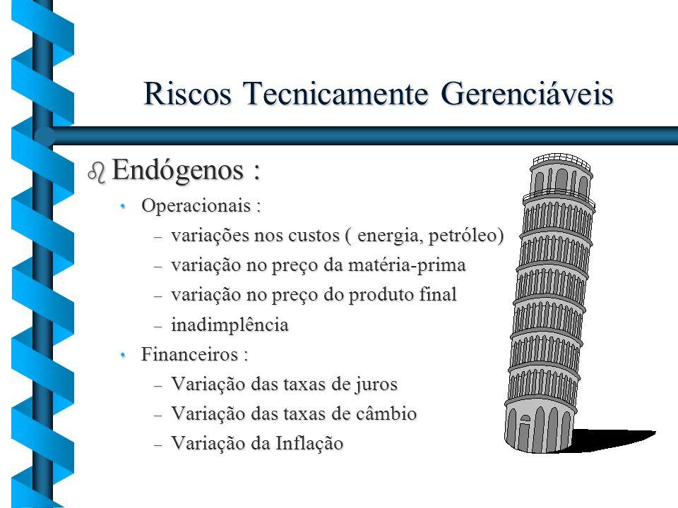 Riscos Tecnicamente Gerenciáveis b Endógenos : Operacionais : Operacionais : – variações nos custos ( energia, petróleo) – variação no preço da matéri