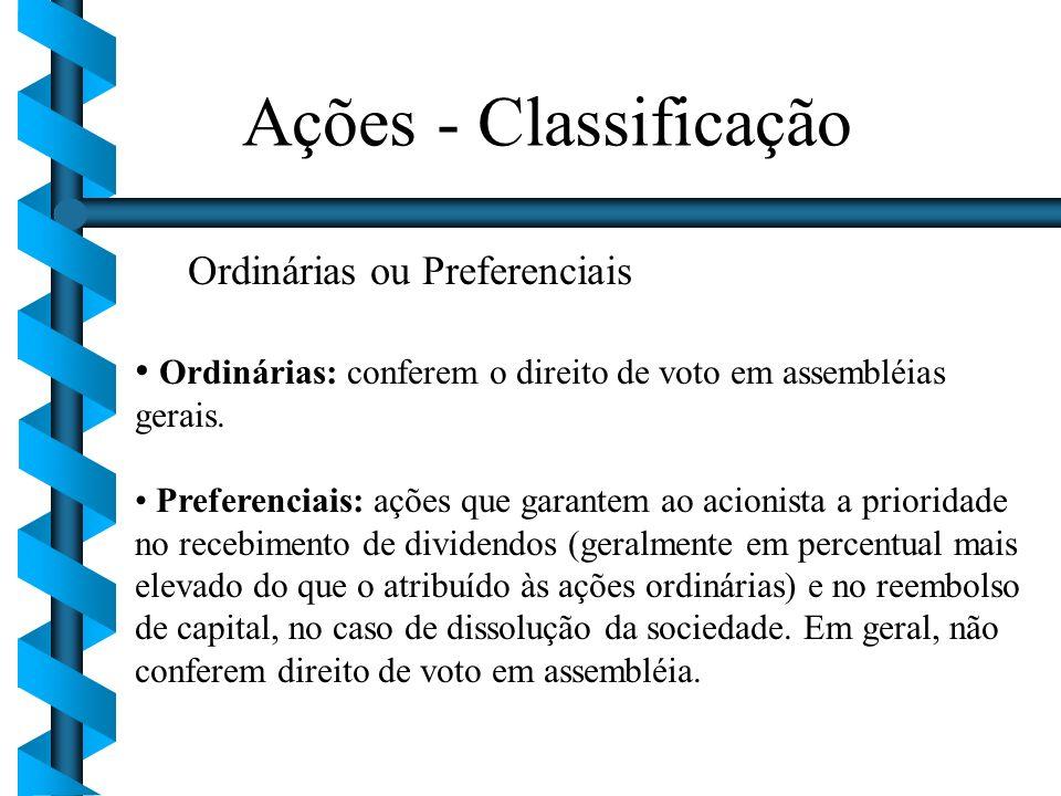 Ordinárias ou Preferenciais Ordinárias: conferem o direito de voto em assembléias gerais. Preferenciais: ações que garantem ao acionista a prioridade