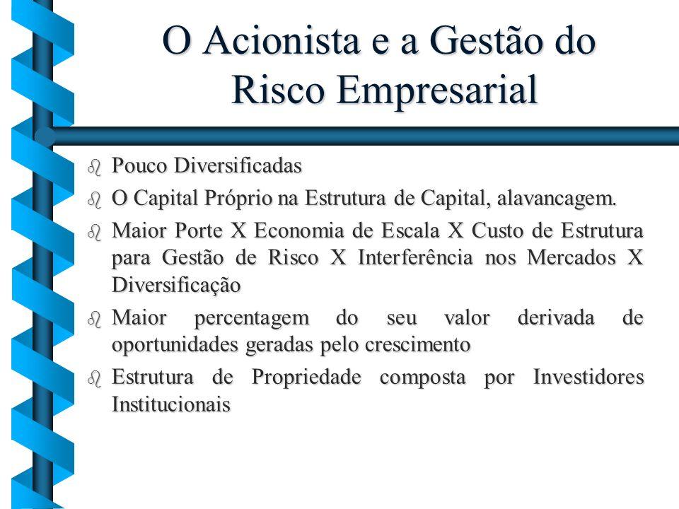 O Acionista e a Gestão do Risco Empresarial b Pouco Diversificadas b O Capital Próprio na Estrutura de Capital, alavancagem. b Maior Porte X Economia
