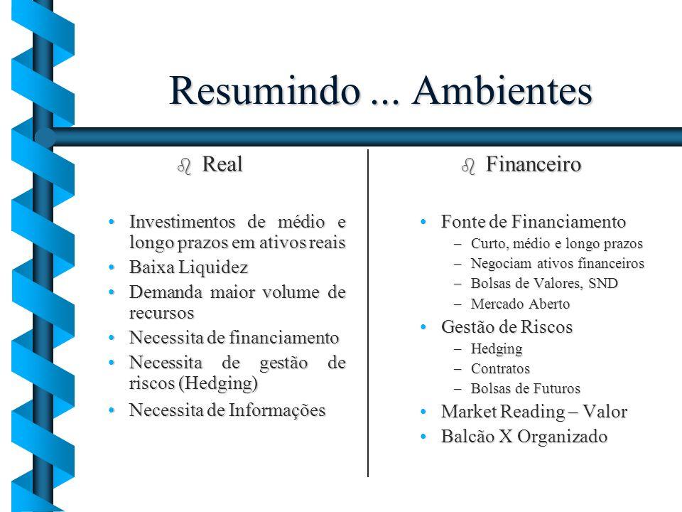 Resumindo... Ambientes b Real Investimentos de médio e longo prazos em ativos reaisInvestimentos de médio e longo prazos em ativos reais Baixa Liquide