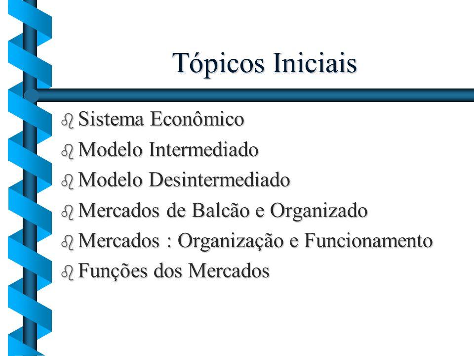 Tópicos Iniciais b Sistema Econômico b Modelo Intermediado b Modelo Desintermediado b Mercados de Balcão e Organizado b Mercados : Organização e Funci