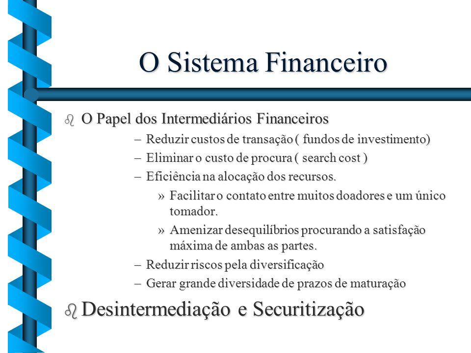 O Sistema Financeiro b O Papel dos Intermediários Financeiros –Reduzir custos de transação ( fundos de investimento) –Eliminar o custo de procura ( se