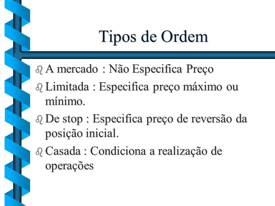 Tipos de Ordem b A mercado : Não Especifica Preço b Limitada : Especifica preço máximo ou mínimo. b De stop : Especifica preço de reversão da posição