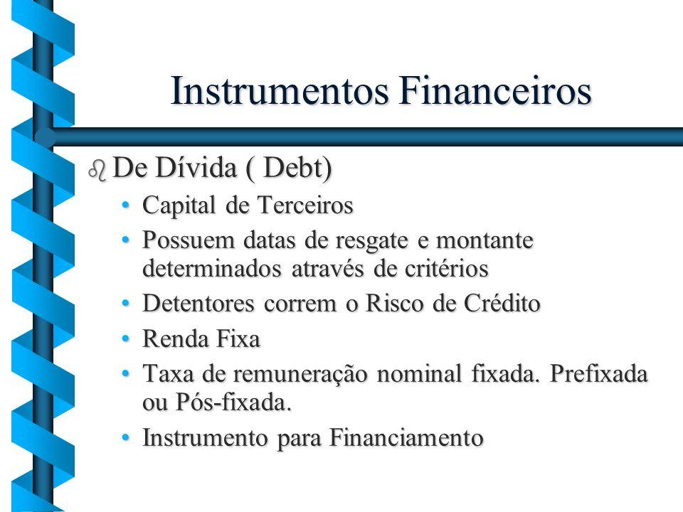 Instrumentos Financeiros b De Dívida ( Debt) Capital de TerceirosCapital de Terceiros Possuem datas de resgate e montante determinados através de crit