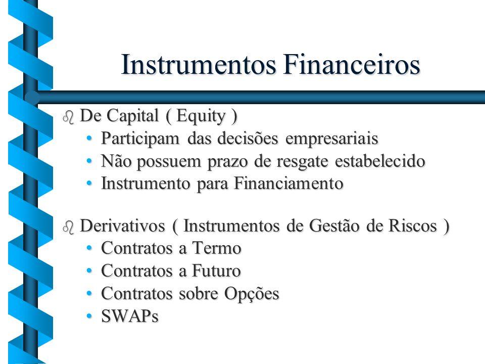 Instrumentos Financeiros b De Capital ( Equity ) Participam das decisões empresariaisParticipam das decisões empresariais Não possuem prazo de resgate