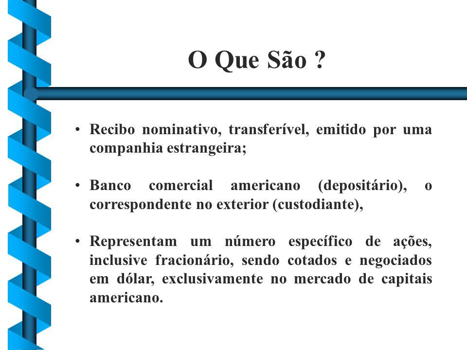 Recibo nominativo, transferível, emitido por uma companhia estrangeira; Banco comercial americano (depositário), o correspondente no exterior (custodi