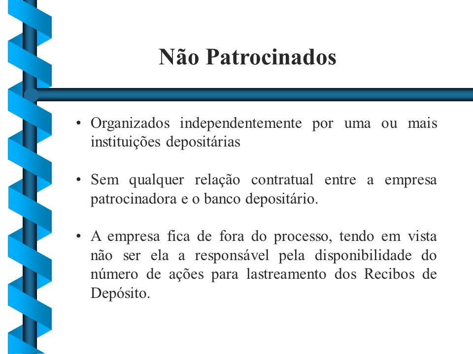 Não Patrocinados Organizados independentemente por uma ou mais instituições depositárias Sem qualquer relação contratual entre a empresa patrocinadora