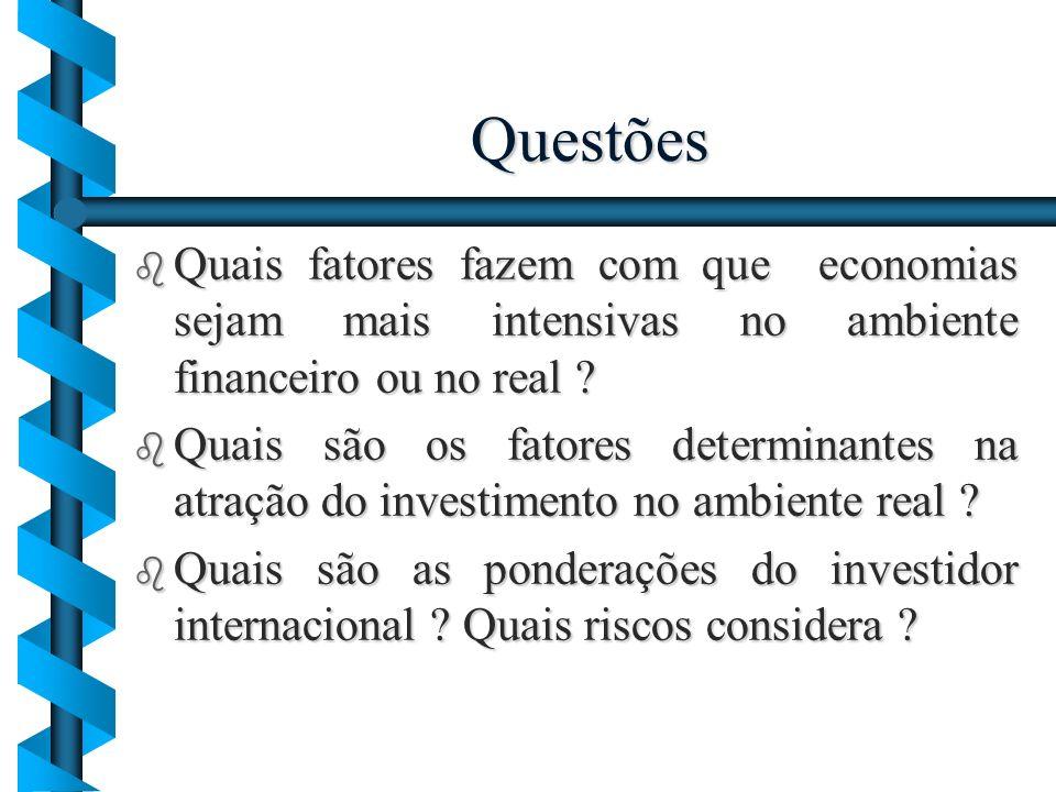 Questões b Quais fatores fazem com que economias sejam mais intensivas no ambiente financeiro ou no real ? b Quais são os fatores determinantes na atr