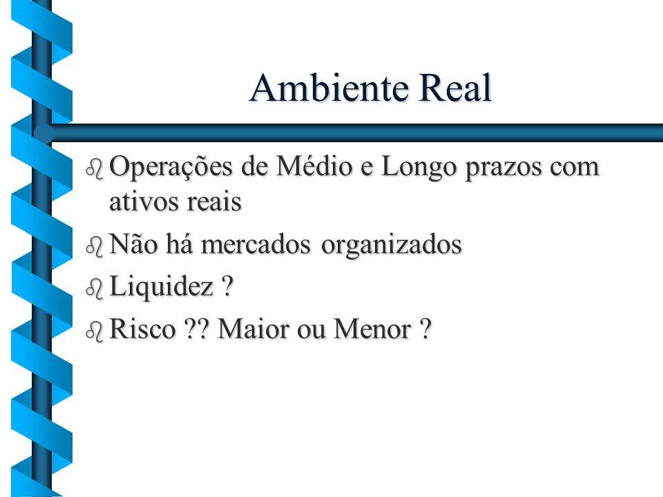 Ambiente Real b Operações de Médio e Longo prazos com ativos reais b Não há mercados organizados b Liquidez ? b Risco ?? Maior ou Menor ?