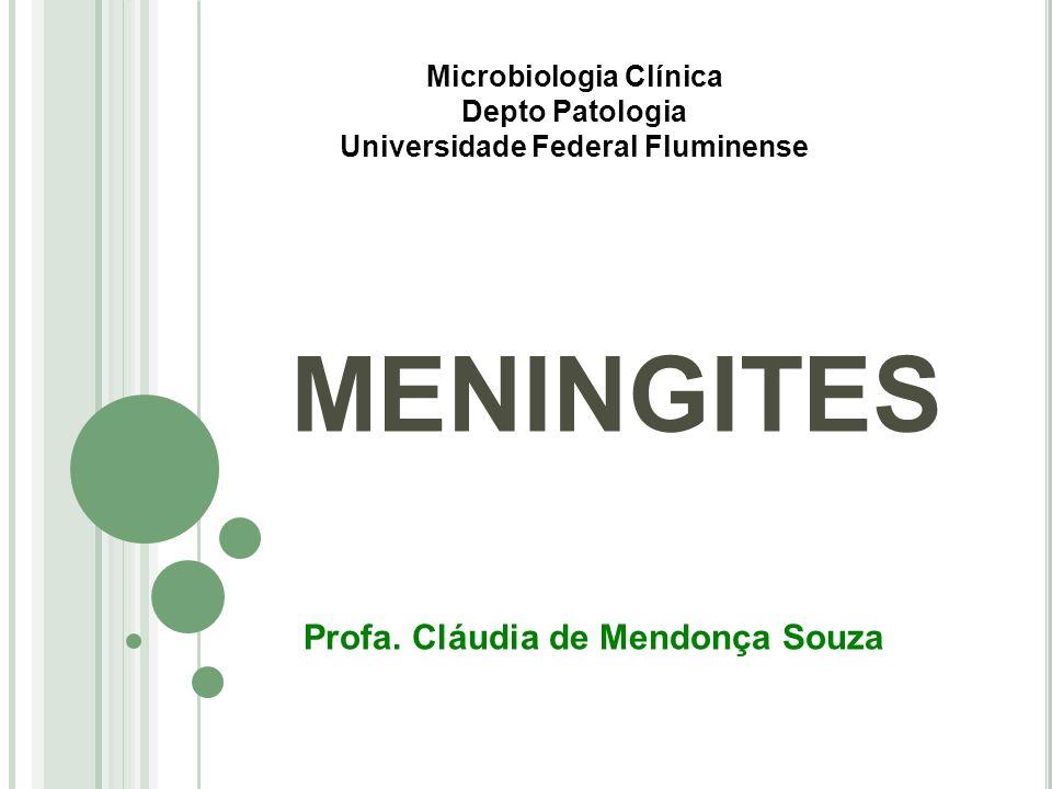 MENINGITES Microbiologia Clínica Depto Patologia Universidade Federal Fluminense Profa. Cláudia de Mendonça Souza