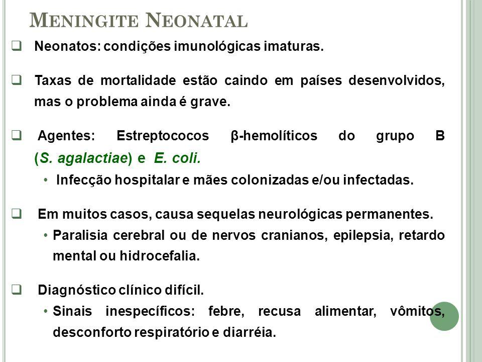 M ENINGITE N EONATAL Neonatos: condições imunológicas imaturas. Taxas de mortalidade estão caindo em países desenvolvidos, mas o problema ainda é grav