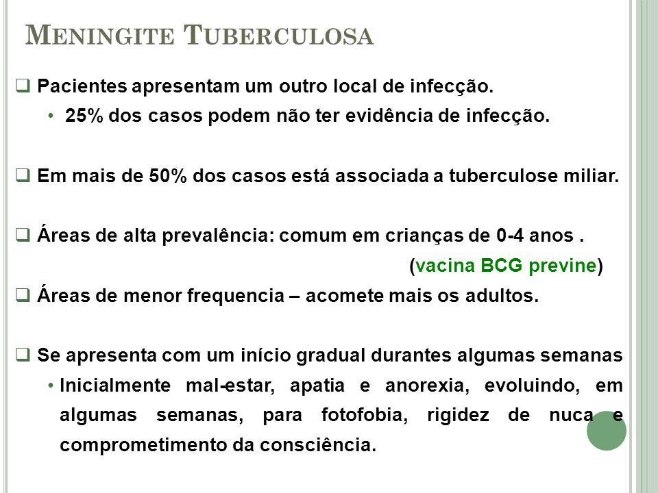 M ENINGITE T UBERCULOSA Pacientes apresentam um outro local de infecção. 25% dos casos podem não ter evidência de infecção. Em mais de 50% dos casos e