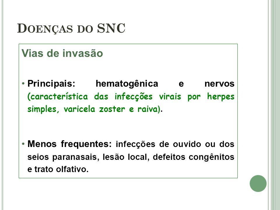 Vias de invasão Principais: hematogênica e nervos (característica das infecções virais por herpes simples, varicela zoster e raiva ). Menos frequentes