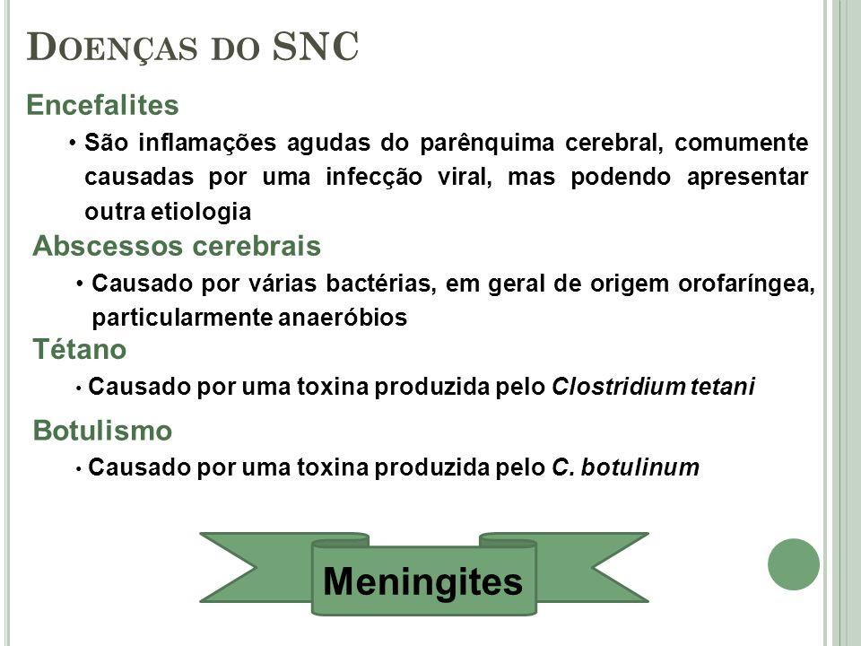 Abscessos cerebrais Causado por várias bactérias, em geral de origem orofaríngea, particularmente anaeróbios Tétano Causado por uma toxina produzida p