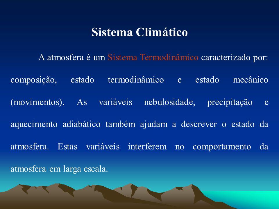 Sistema Climático A atmosfera é um Sistema Termodinâmico caracterizado por: composição, estado termodinâmico e estado mecânico (movimentos). As variáv