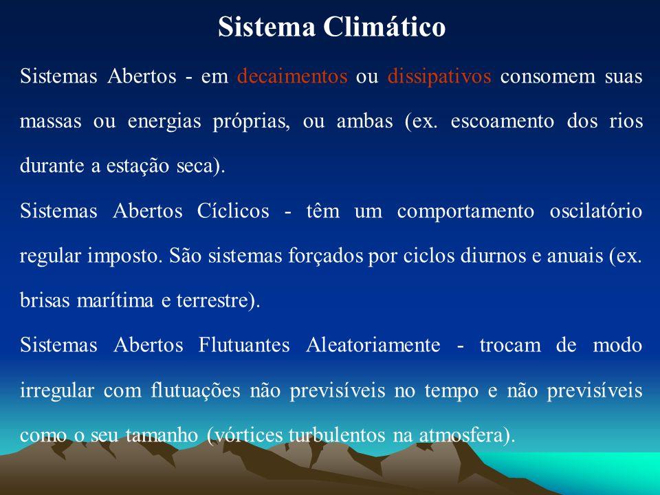 Sistema Climático Sistemas Abertos - em decaimentos ou dissipativos consomem suas massas ou energias próprias, ou ambas (ex. escoamento dos rios duran