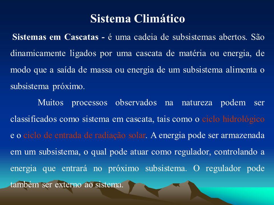 Sistema Climático Sistemas em Cascatas - é uma cadeia de subsistemas abertos. São dinamicamente ligados por uma cascata de matéria ou energia, de modo