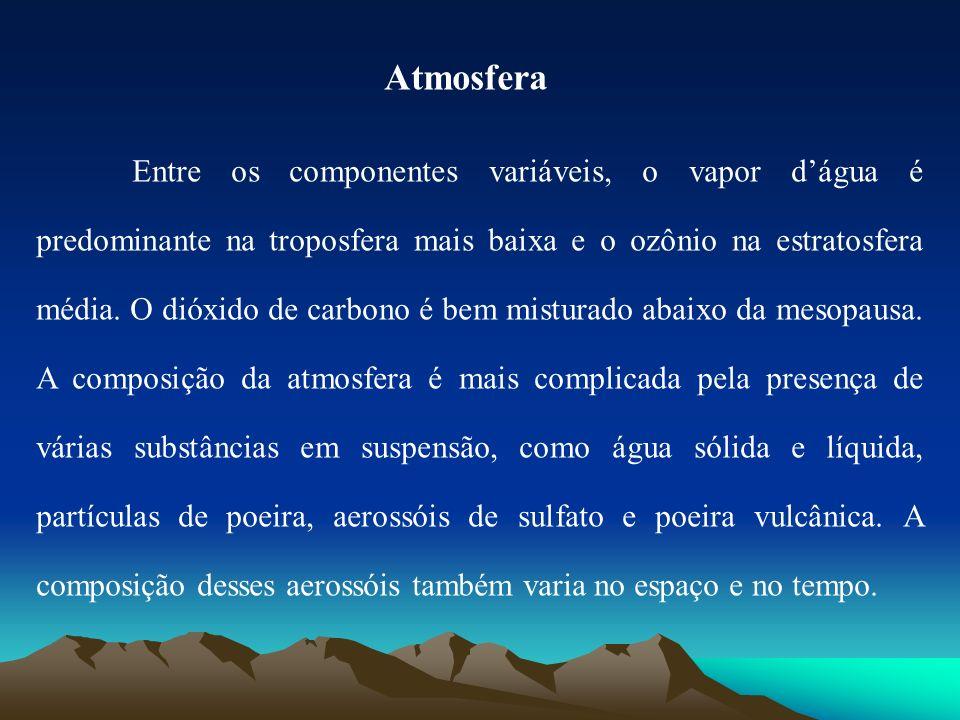 Atmosfera Entre os componentes variáveis, o vapor dágua é predominante na troposfera mais baixa e o ozônio na estratosfera média. O dióxido de carbono