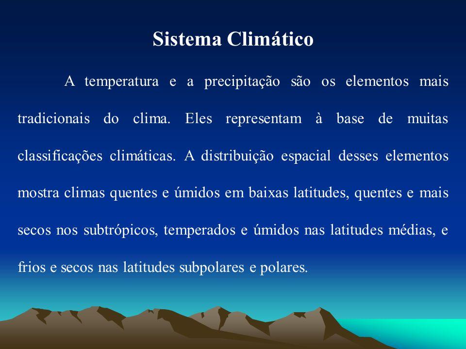 Sistema Climático A temperatura e a precipitação são os elementos mais tradicionais do clima. Eles representam à base de muitas classificações climáti