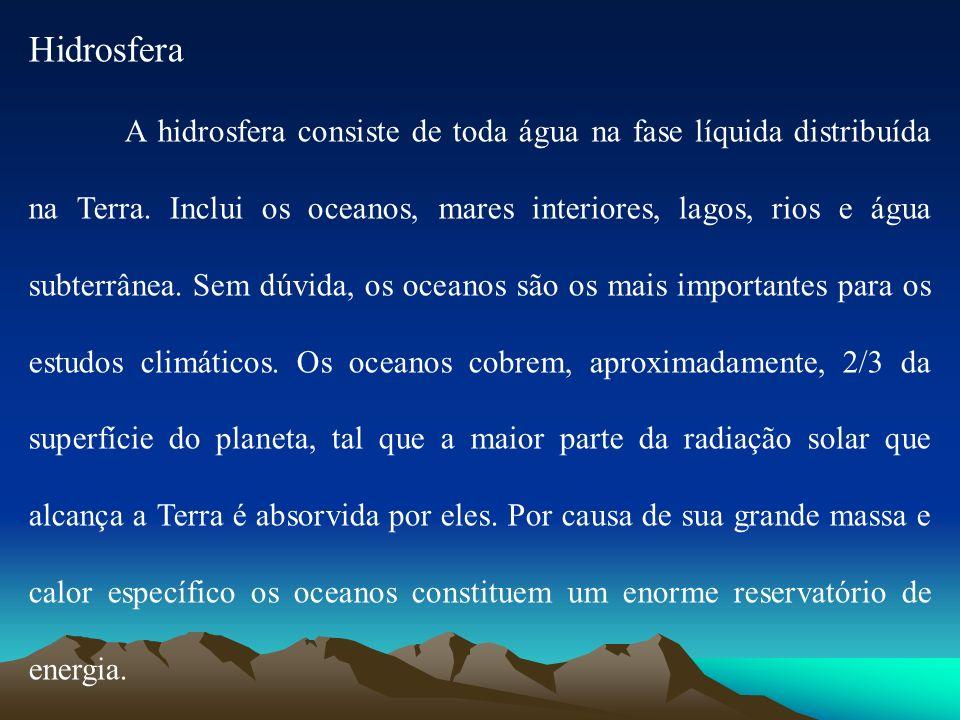 Hidrosfera A hidrosfera consiste de toda água na fase líquida distribuída na Terra. Inclui os oceanos, mares interiores, lagos, rios e água subterrâne