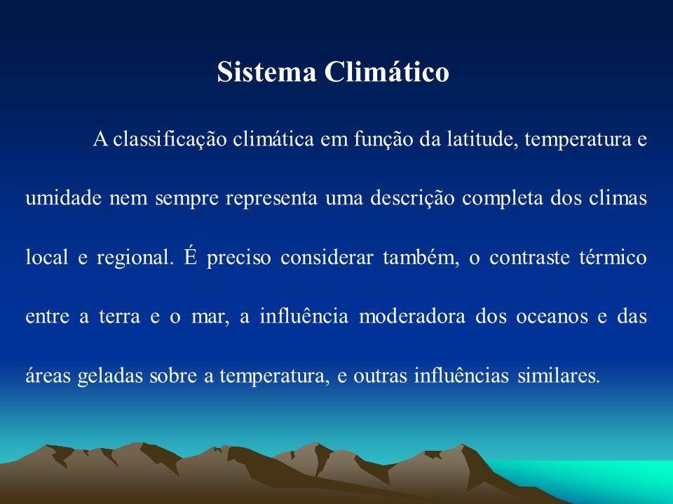 Sistema Climático A classificação climática em função da latitude, temperatura e umidade nem sempre representa uma descrição completa dos climas local